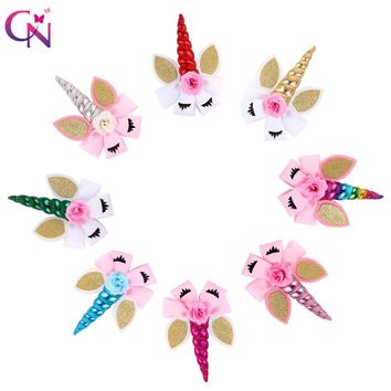 "8 Pieces/lot 8"" Unicorn Hair Bows With Clips For Girls Kids Plain Ribbon Glitter Ear Flower Bows Rainbow Hair Accessories"