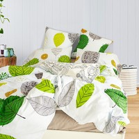 """100% Cotton Green Big Leaves Printing Bedding Duvet Cover Sets(Twin Queen King size) (Queen(9090""""))"""