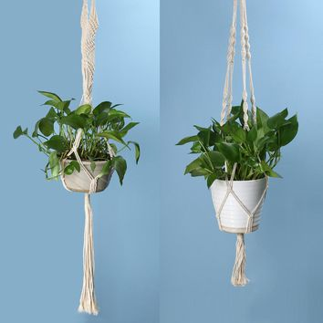 Vintage Knotted Plant Hanger Basket Green Flowerpot Macrame Lifting Rope Plant Hanger Pot Holder Garden Hanging Flower Display