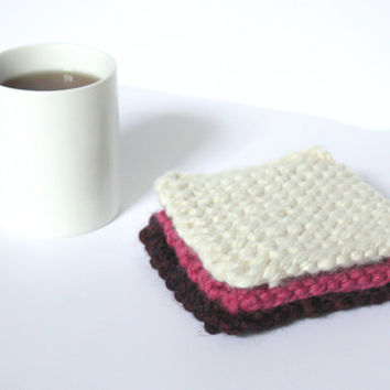 Thick Knit Coasters, Modern Coasters, Wool Coasters, Coffee Coaster, Reversible Coasters, Absorbent Coasters, Coffee Table Decor