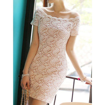 White Lace Short Sleeve Mini Dress