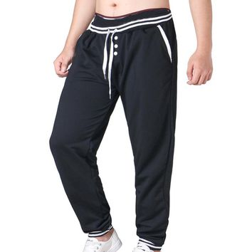 Plus Size Men Pants Striped Pockets Button Elastic Waist Drawstring Hip Hop Harem Pants Male Trousers Mens Joggers Sweatpants