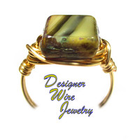 DWJ0566 Beautiful Beach Sands Czech Art Glass Gold Wire Wrapped Ring All Sizes
