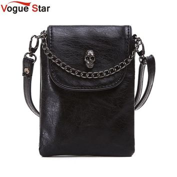 Vogue Star 2017 New Arrival Fashion Shoulder Cross-body Small Bags Skull Chain Mobile Phone Bag Women's  Messenger bag YK40-371