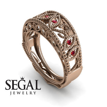 Unique Engagement Ring 14K Red Gold Vintage Art Deco Edwardian Ring Filigree Ring Ruby With White diamond - Gianna