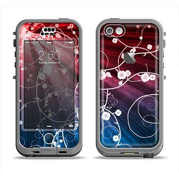 The Blue and Red Light Arrays with Glowing Vines Apple iPhone 5c LifeProof Nuud Case Skin Set