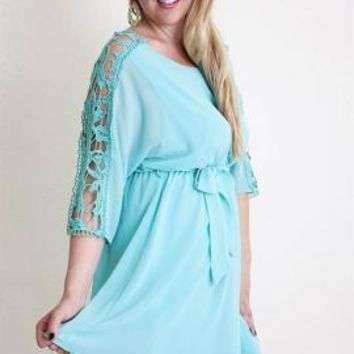 Hopeless Romantic Crochet Sleeve Blouson Dress in Mint | Sincerely Sweet Boutique