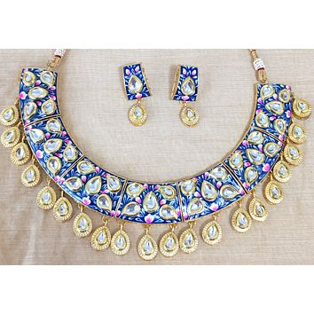 Hand painted enamel work with kundan like stone embedded bold choker necklace and earring set