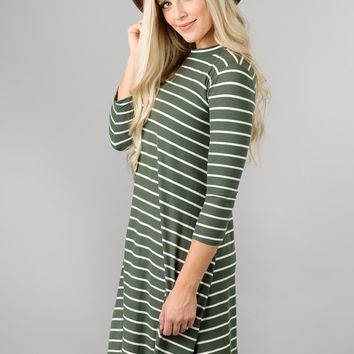 Striped 3/4 Sleeve Swing Dress