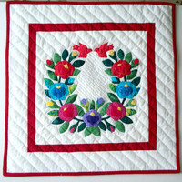"Quilted Wall Hanging -  ""Rose Wreath with Red Birds"" -   Hand Applique Baltimore Album - Traditional Wall Art"