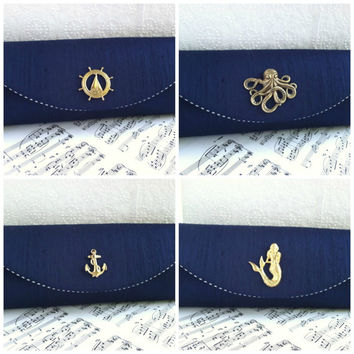 Navy blue silk nautical clutch, navy blue clutch purse, silver and gold embellishment options