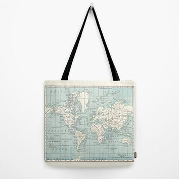 World Map Tote Bag, travel theme tote, blue and cream , spring, everything bag, allover print, gift for mom, beach bag, travel bag