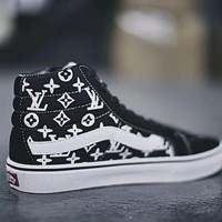 LV Vans Canvas Shoes Brand Women And Mens Supreme Logo Checkerboard Sneakers Skateboarding Shoes
