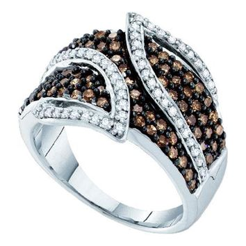 10kt White Gold Womens Round Brown Color Enhanced Diamond Fashion Ring 1.00 Cttw