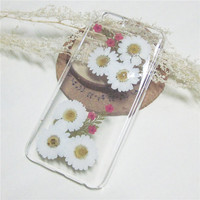 White daisy flower iphone 6s case,pressed flower iphone 6case,clear iphone 5s rubber,iphone 6s plus case,Samsung Galaxy S4 case,Gift for her
