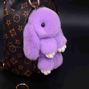 Bunny Keychain Rabbit Cute Fluffy Key chain Rex Genuine Rabbit Fur Pompom Key Ring Pom Pom Toy Doll Bag Charm Car Key Holder