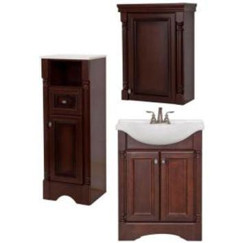 St. Paul, Valencia Bath Suite with 25 in. Vanity with Vanity Top, Mirror, Linen Tower and OJ in Glazed Hazelnut, BSVA25STP3COM-HG at The Home Depot - Mobile