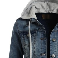LE3NO Womens Denim Jacket with Detachable Hoodie