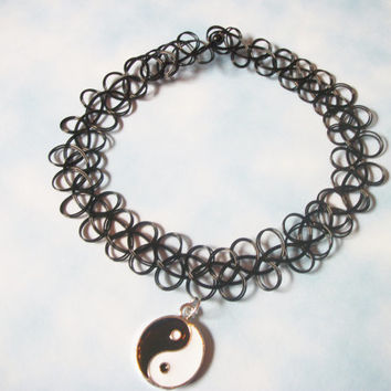 Black Yin Yang Tattoo Choker / Black Goth Kawaii, Grunge, 90s Stretchy Yin Yang Charm Tattoo Choker