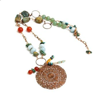 Boho style multigem necklace, copper pendant, natural stone necklace with turquoise, amazonite, carnelian and aventurine. long necklace