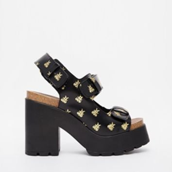Miista Elena Embossed Bees Mid Heeled Sandals
