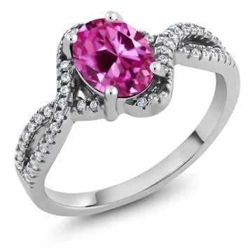 2.23 Ct Oval 8x6mm Pink Created Sapphire 925 Sterling Silver Ring Sizes 5 to 9