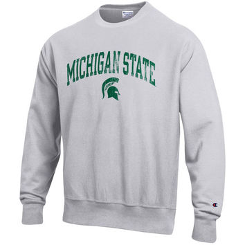 Men's Champion Gray Michigan State Spartans Reverse Weave Crewneck Sweatshirt