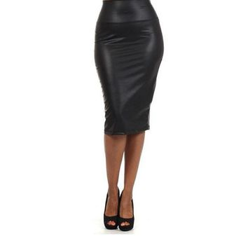 New arrival black and red skirts womens hot sale 2016 sexy clothing high waist faux leather pencil skirt