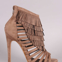 Suede Fringe Strappy Caged Stiletto Heel