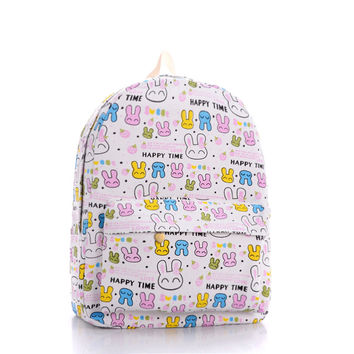 Canvas Cute Rabbit Lovely Cartoons Backpack = 4887417540