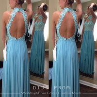 Custom Made Lace Prom Dress,Backless Prom Dresses,Chiffon Prom Dress,Lace Bridesmaids Dresses,Open Back Prom Dress,Dresses For Prom