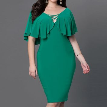 Batwing Sleeved Plus Size V-Neck Elastic Stretch Pencil Knee-Length Dress
