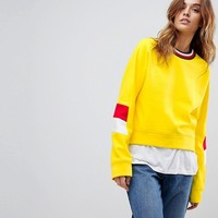 Tommy Hilfiger Sleeve Panel Sweat With Stripe Neck at asos.com