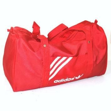 vintage ADIDAS red duffel bag 80s 90s ATHLETIC gear designer OVERNIGHTER gym duffle ba