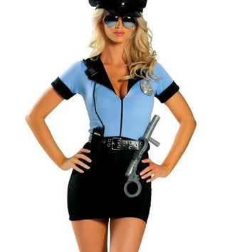 Contrast Short Sleeves Bodycon Police Officer Costume