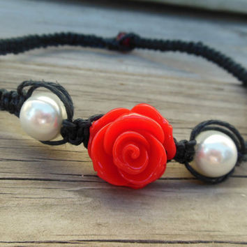 Rose Pearl Black Hemp Choker Macrame Square Knot