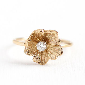 Flower Diamond Ring - Vintage 14k Yellow Gold Floral Blossom - Size 6 Mid Century 1950s Fine Stick Pin Conversion .07 CT Gemstone Jewelry