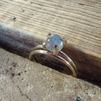 Claw Ring Gold Filled with Labradorite Set of 2