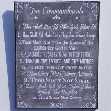 The Ten Commandments -  Bible Verse Chalkboard Like Print Mounted on 11 x 14 Canvas - Thanksgiving Art, Christmas Art, Bible Verse Art