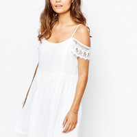 New Look Crochet Trim Detail Smock Dress