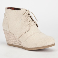 City Classified Rex Womens Desert Wedges Beige Linen  In Sizes