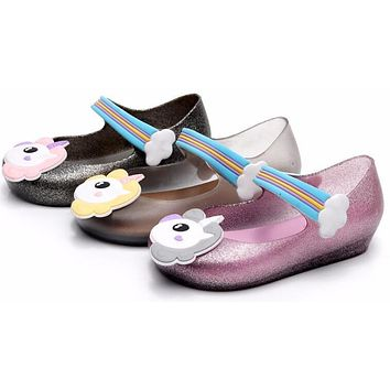2018 Kids mini sed jelly sandals for baby unicorn children girls princess shoes cute cartoon transparent bling soft beach shoes