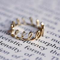 Crown Ring, Gold Dainty Ring, Gold Thread Ring, Gold Loop Ring, Hand Drawing Ring