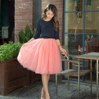 Fashion Women Skirts Saias Tulle Skirt 7 layers Solid Color match High Waisted Tutu Skirts Women Pleated Skirt faldas saia jupe