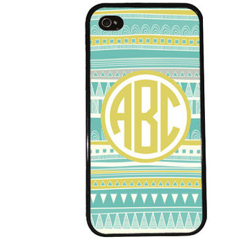 MONOGRAM AZTEC Case / Easy Personalization iPhone 4 Case iPhone 5 Case iPhone 4S Case iPhone 5S Case Initials Name Summer iPhone 5C Tribal