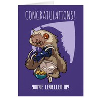 You've Levelled Up Gamer Sloth In Pants Cartoon Card