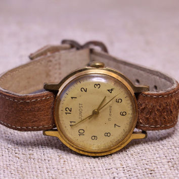 Vintage Junost womens watch gold plated russian watch ussr ccp soviet watch