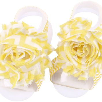 Shabby Chic Baby Toddler Barefoot Sandal Yellow Chiffon Flower Elastic Foot Wear  2 Pc 1 Pair New Item