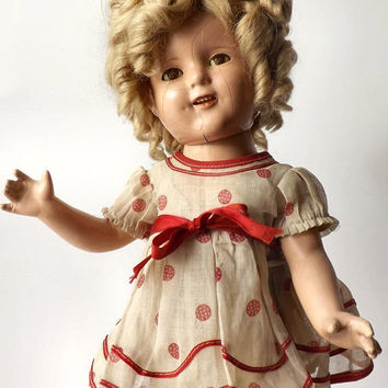 "1930's Ideal Shirley Temple 17"" Composition Doll, Original Stand Up and Cheer Outfit, Early COP Ideal N &T Co Mark, Sleepy Eye"