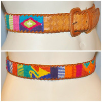 Vintage Colorful Patterned Woven Belt 1990's Women's Belt Rainbow Worldy Pattern Brown Leather Authentic Guatemalan Belt Artistic Belt